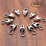100 Pack Stainless Steel Heavy-duty Shower Curtain Clip with Hook String Party Lights Hanger Wire Holder for Photos, Bedroom, Bathroom, Home Decoration, Art Craft Display (Silver)