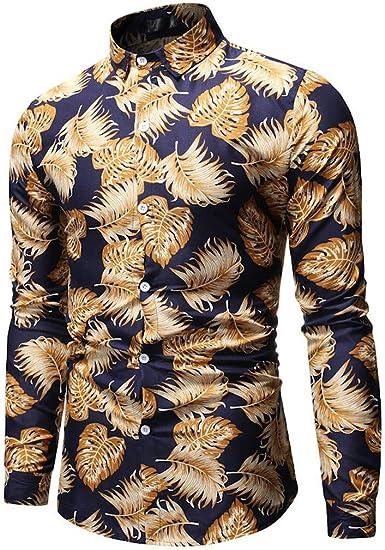 Camisas de Hombre Polos Hawaianas Camisetas Manga Larga Estampadas ...