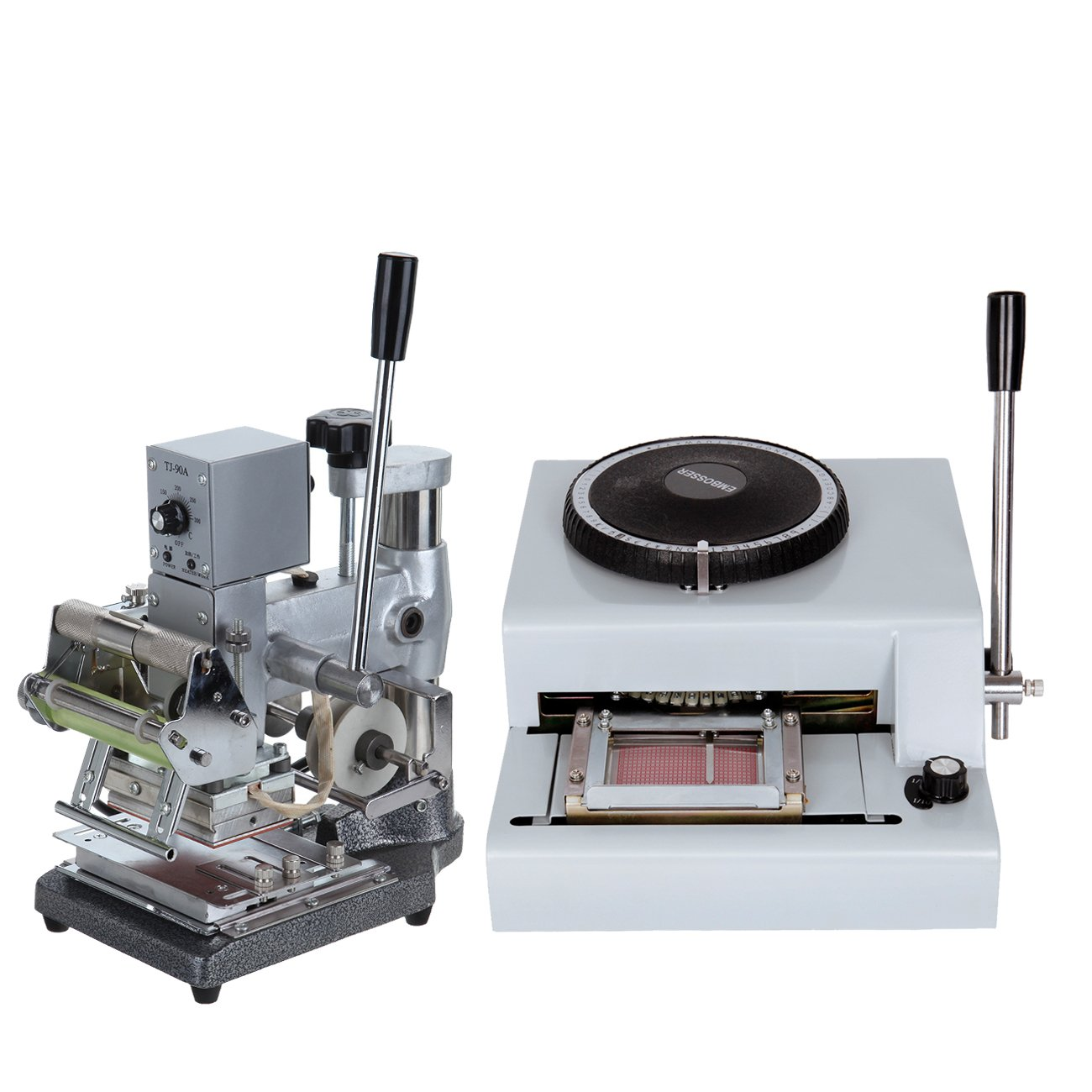 Iglobalbuy 72 Characters PVC Card Embosser Embossing Machine With Hot Foil Stamping Machine (Embrosser+Hot Foil Stamping Tipper)