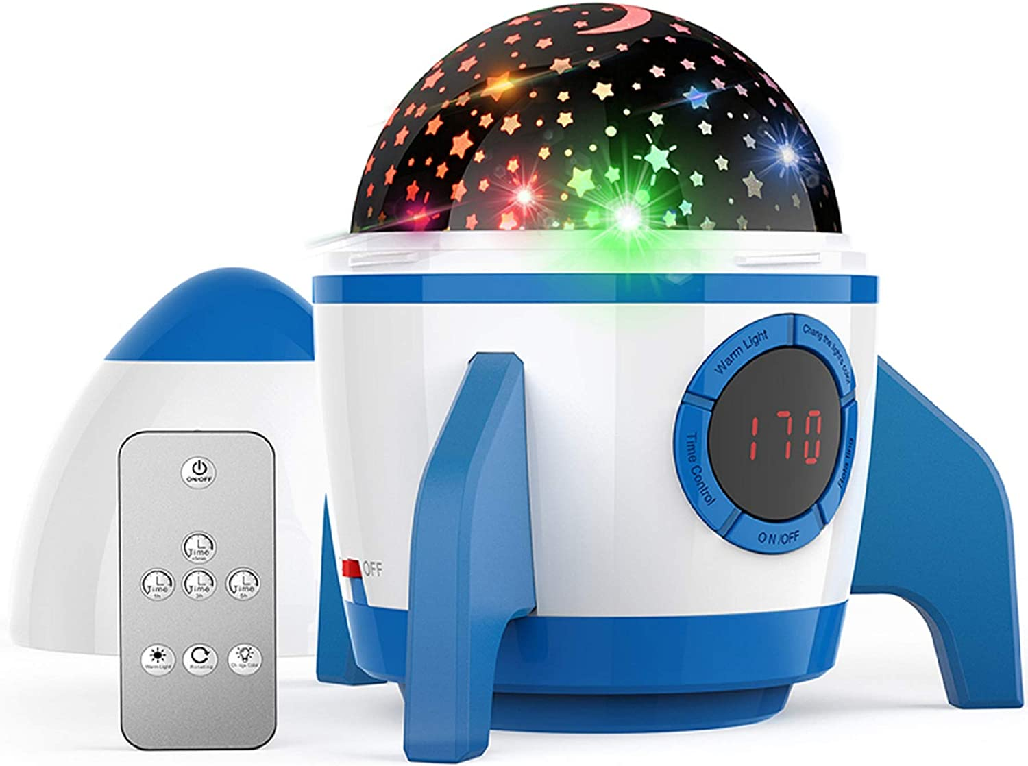 Night Light Star Projector,Amouhom Star Sky Projector,Baby Star Light with Remote Control&Timer Design&Rotating,Best Toys for Boys and Girls,Bedroom,Living Room,(Rocket-Blue)