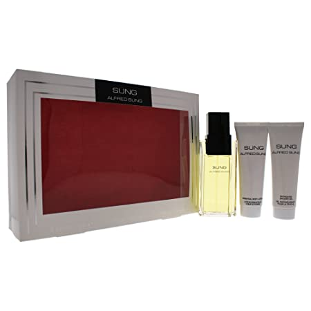 Sung by Alfred Sung for Women – 3 Pc Gift Set 3.4oz EDT Spray, 2.5oz Essential Body Lotion, 2.5oz Refreshing Shower Gel.