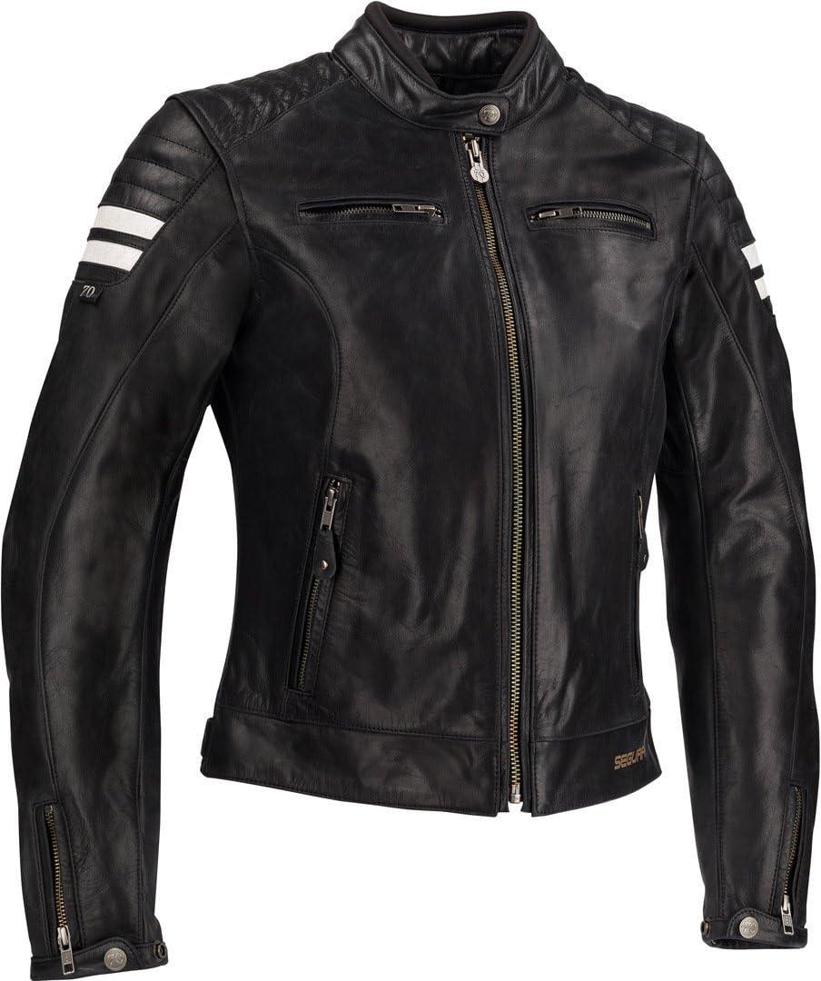 44 T4 Noir//Blanc Segura Blouson moto LADY STRIPE Noir//Blanc