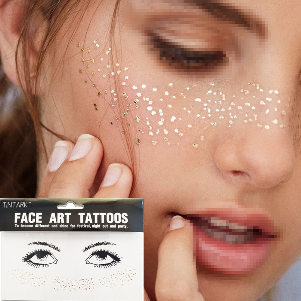 Hatcher lee 3 Sheets Face Tattoo Sticker Metallic Shiny Temporary Water Transfer Tattoo for Professional Make Up Dancer Costume Parties, Shows Gold Glitter (3 Sheets-002) by Hatcher lee (Image #1)