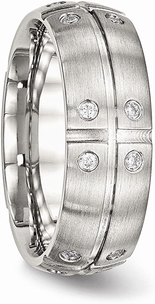 Bridal Wedding Bands Decorative Bands Stainless Steel Brushed Half Round//Grooved CZ Ring Size 12