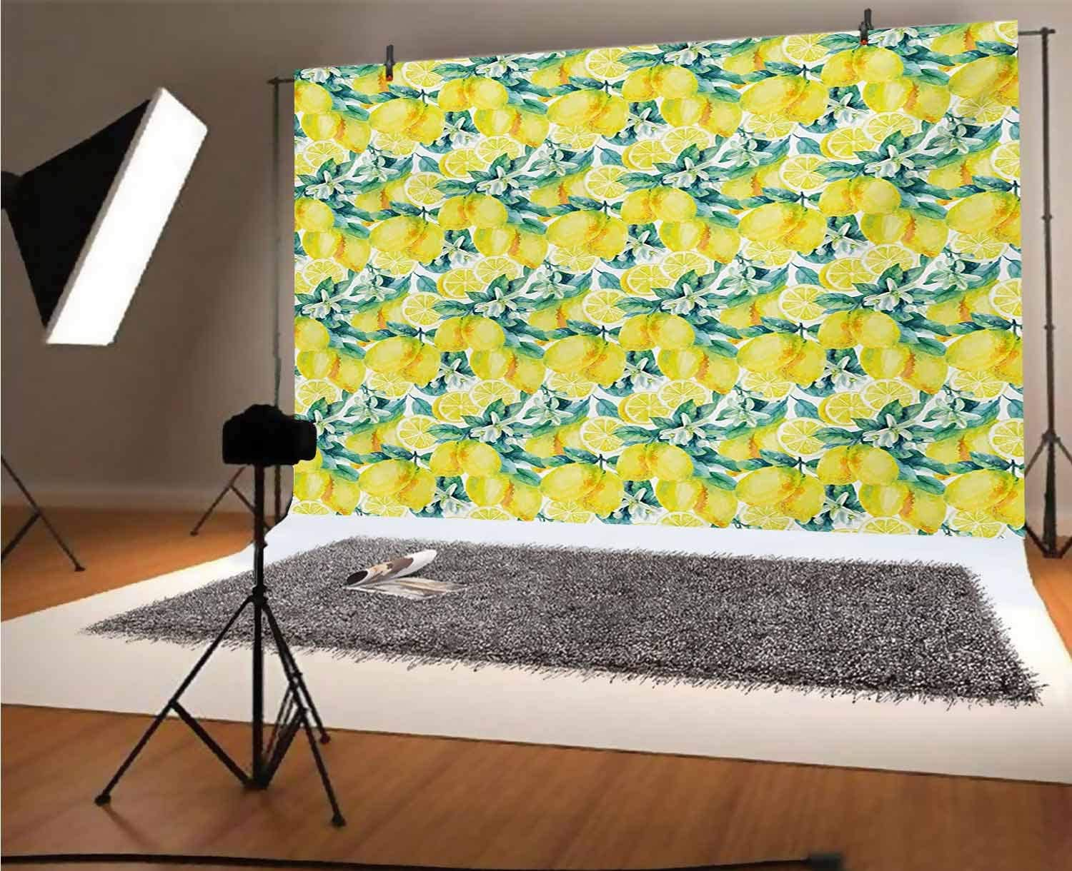 Modern 12x10 FT Vinyl Photo Backdrops,Watercolor Paintbrush Stylized Lemons with Murky Hazy Effects Artful Image Background for Selfie Birthday Party Pictures Photo Booth Shoot