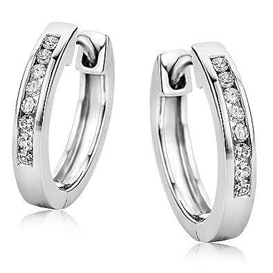 c7224a78678f Orovi Pendientes Señora aros en Oro Blanco con Diamantes Talla Brillante  0.11 ct Oro 9 Kt   375  Amazon.es  Joyería