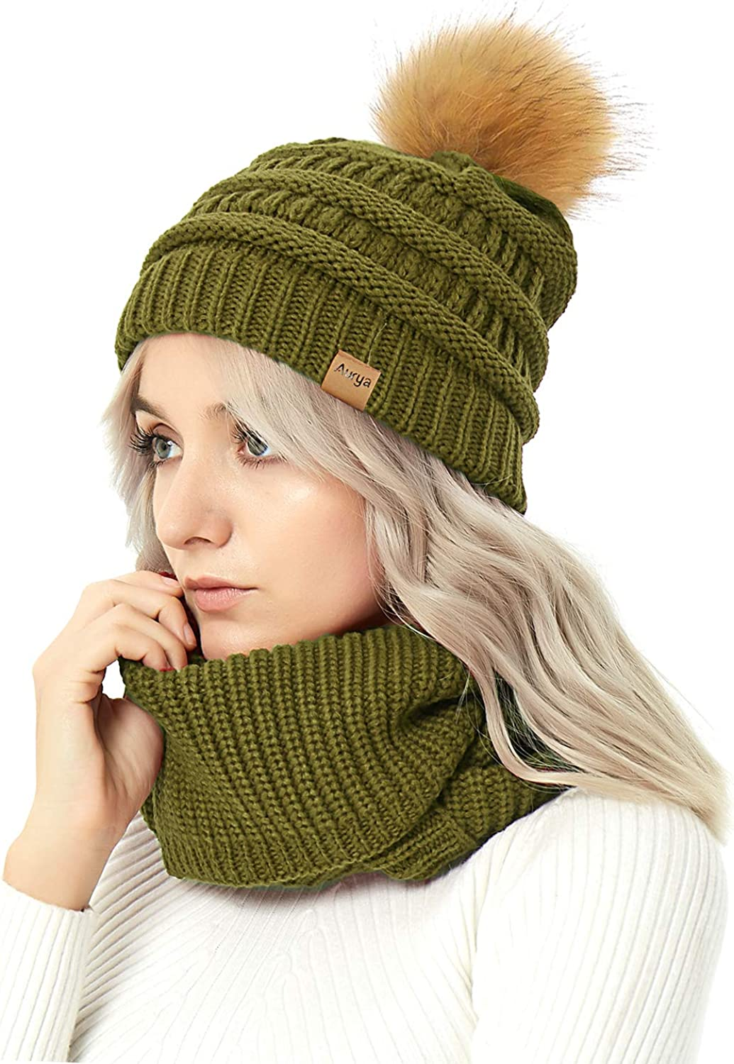 Winter Warm Cable Knit Pom...