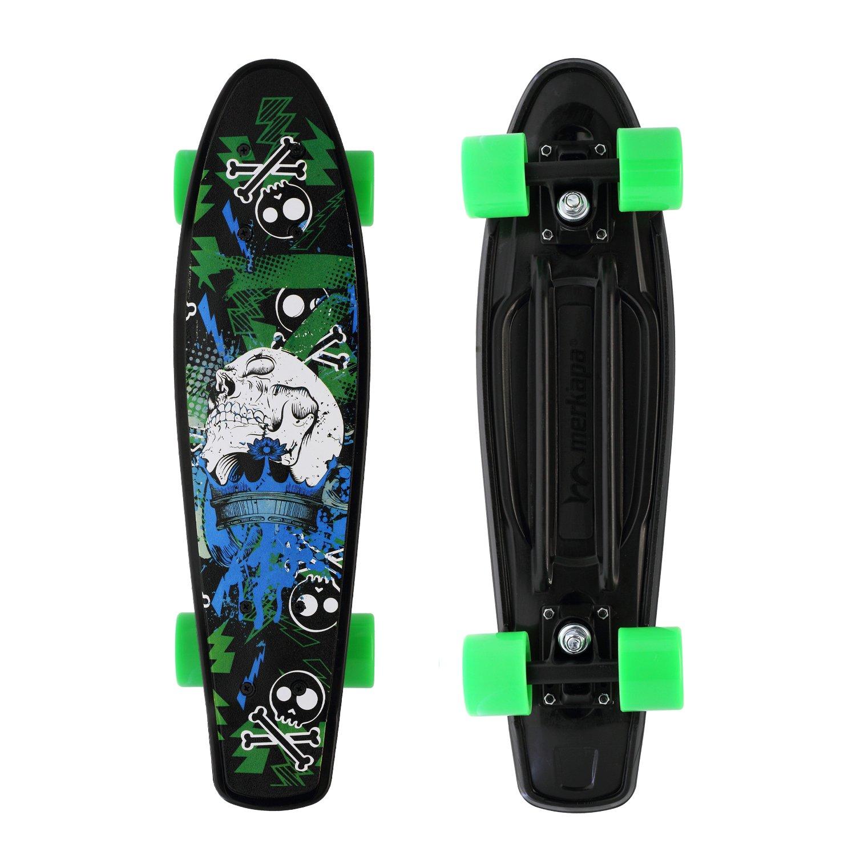 Merkapa Complete 22 inch Skull Style Skateboard for Kids, Beginners (Green)