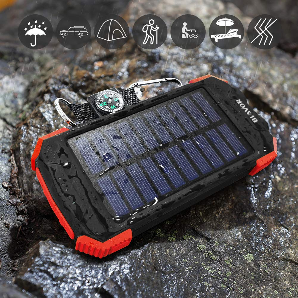 IPX4 Splashproof, Dustproof, Shockproof, Solar Panel Charging, DC5V//2.1A Input Qi Portable Charger 10,000mAh External Battery Pack Type C Input Port Dual Flashlight Solar Power Bank Compass
