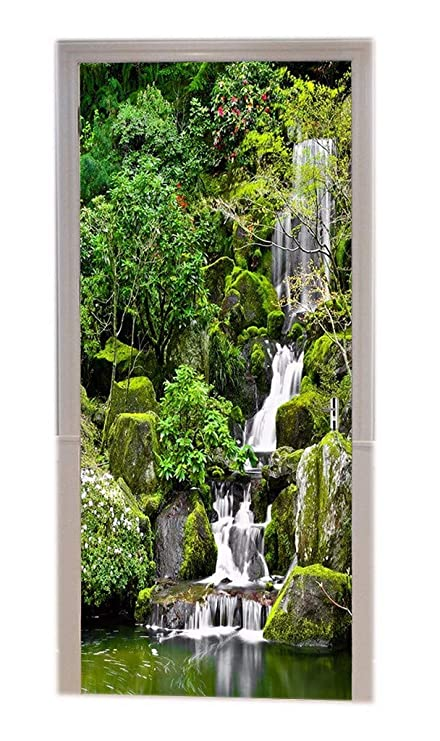 27db448c5 A.Monamour Green Trees Forest Mountain Rocks Stones Waterfall Nature  Scenery Landscape Printed Vinyl Room