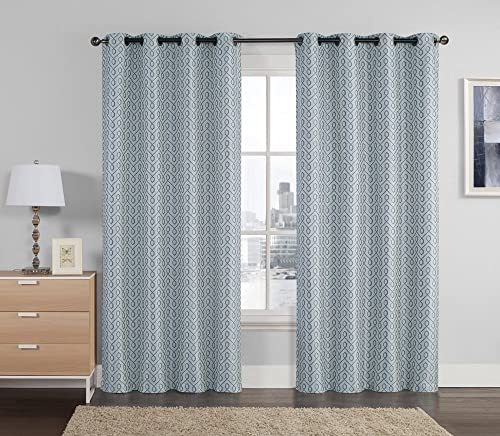 Victoria Classics Set of Two 2 Jacquard Window Curtain Panels Geometrical Design