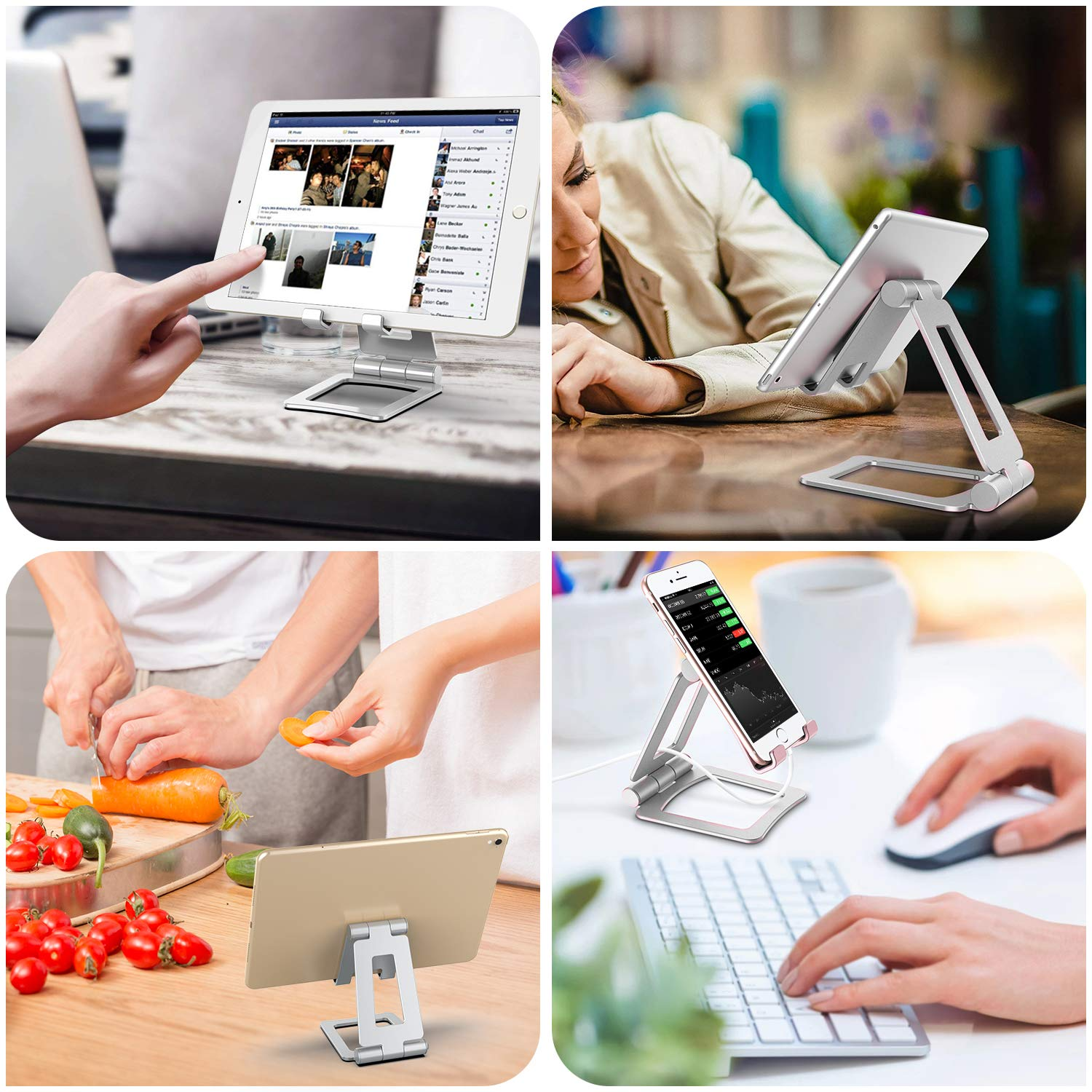 Multi Angle Stand Folding Tablet Holder Grey Universal Tablet Stand Adjustable Dual 270 Degree Portable Desktop Stiff Tablet Holder Stand Desktop Mount Phone Dock Swivel Streits