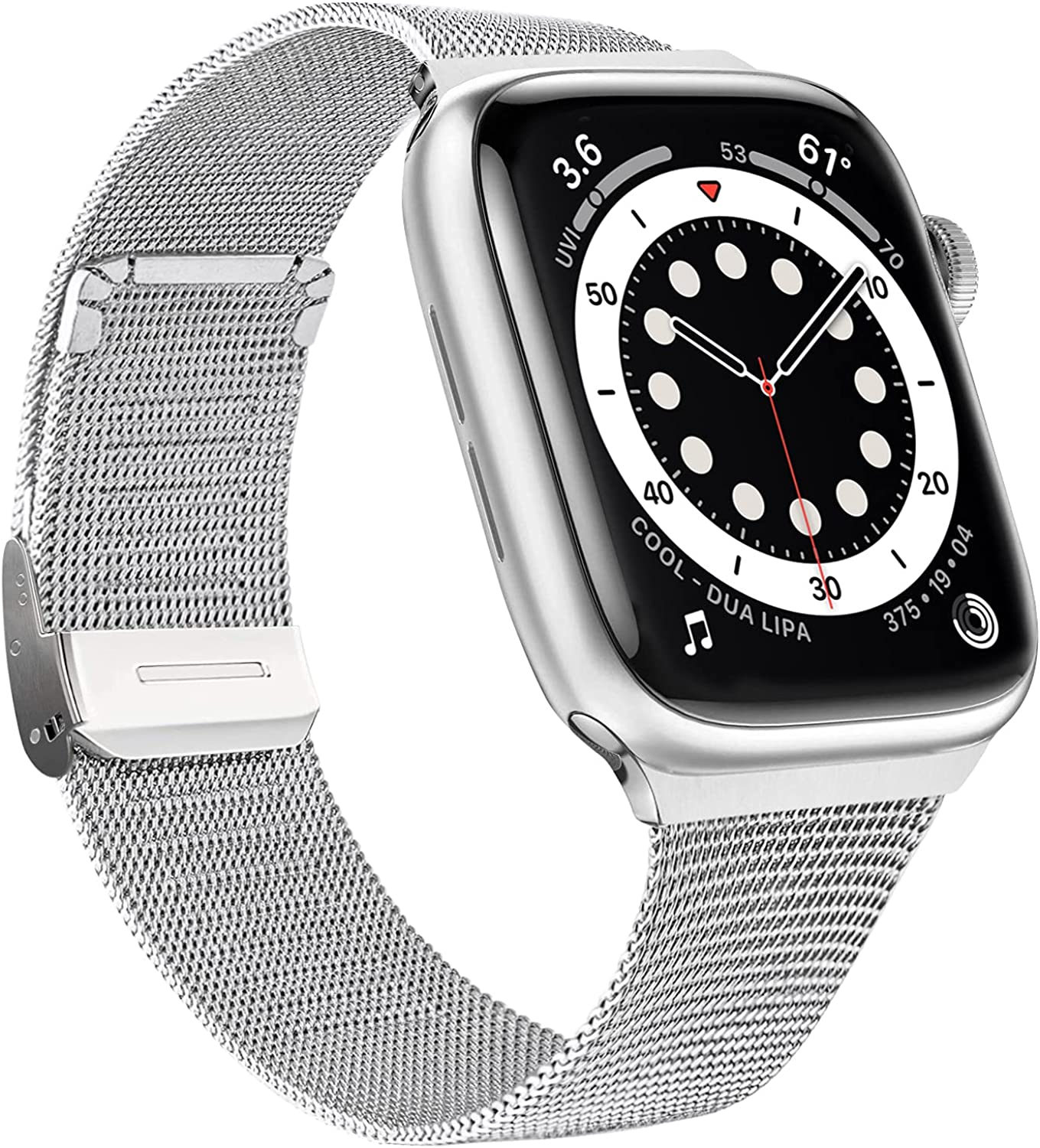 EurCross Metal Bands Compatible with Silver Apple Watch Band 38mm 40mm for Women Stainless Steel Mesh Loop Adjustable Strap Replacement Compatible for iWatch Series SE/6/5/4/3/2/1
