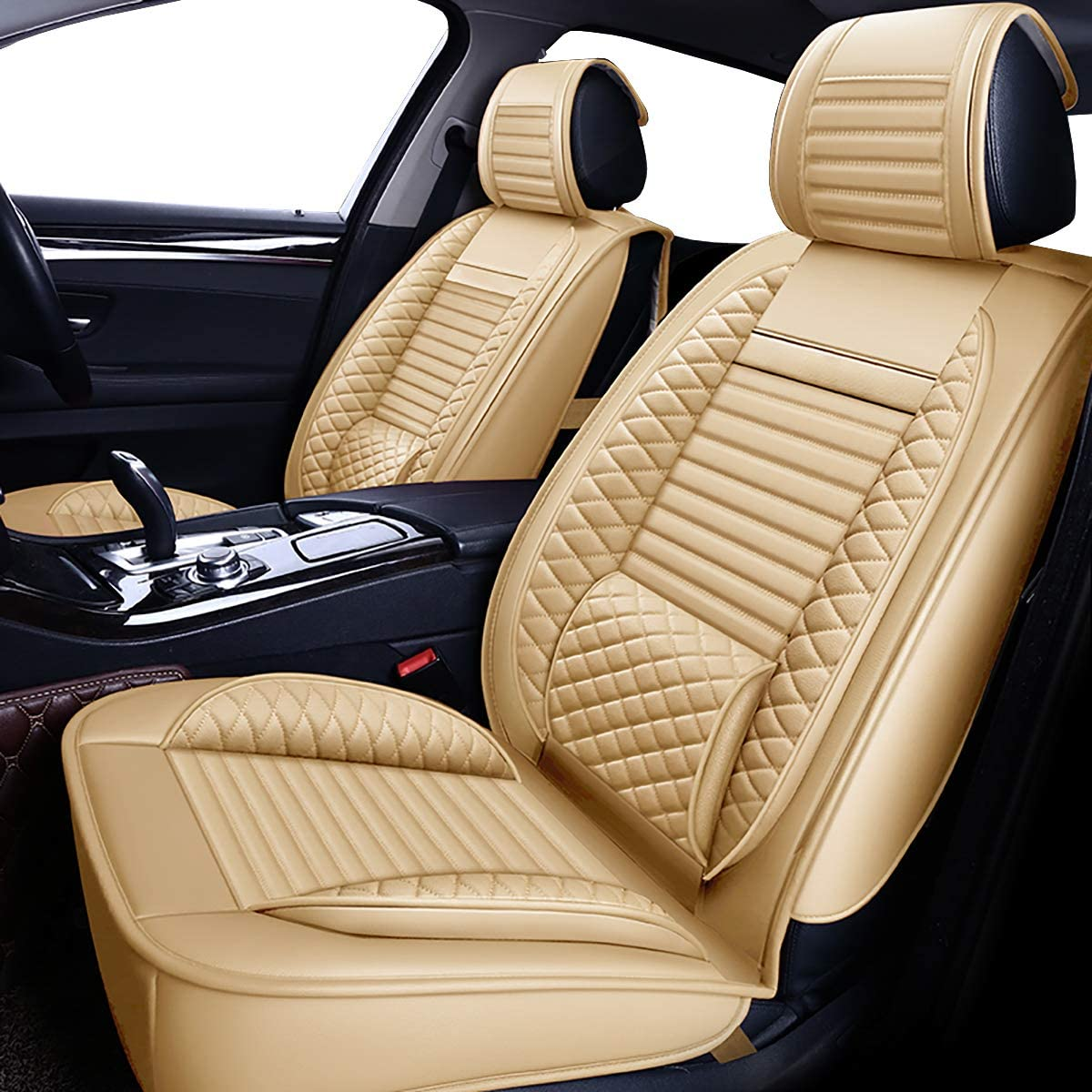 SUV and Small Pick-Up Truck Front, TAN OASIS AUTO OS-002 Leather Universal Car Seat Covers Automotive Vehicle Cushion for Sedan