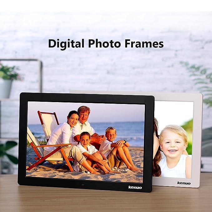 Marco de fotos digital 15.4 Pulgadas Pantalla IPS LED Marco Digital Multifuncional Resolución 1280X800 con Control Remoto Reloj Calendario Despertador de ...