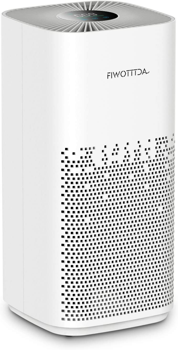 FIWOTTTDA Air Purifier for Home Large Room with H13 HEPA Filter, UV Light, Filter Pets Hair Smoke Dust Pollen, 5 Wind Speed Quiet Filtration System Cleaner Odor Eliminators for Bedroom Office, White