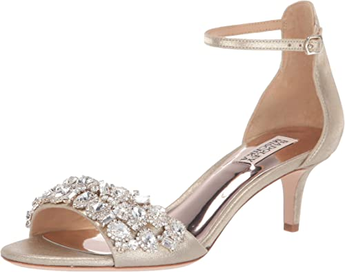 Badgley Mischka Lara Embellished Metallic Kitten heel