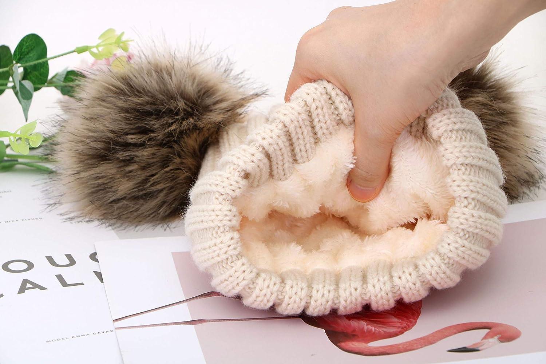 Simplicity Kids Winter Pompom Ears Knitted Beanie Hat Ski Hat