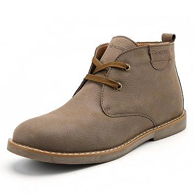 4f5b9cf89250b Gracosy Bottes Hommes Hiver Cuir, Bottines Fourrées Desert Boots Classique  à Lacets avec Fourrure Chaude