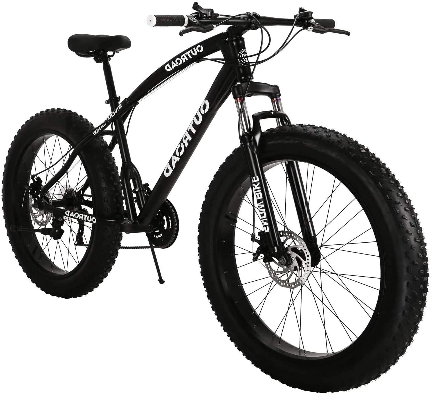PanAme 26 inch Fat Tire Mountain Bike, High-Carbon Steel Frame, 21-Speed, Disc Brake and Shock Absorber Fork