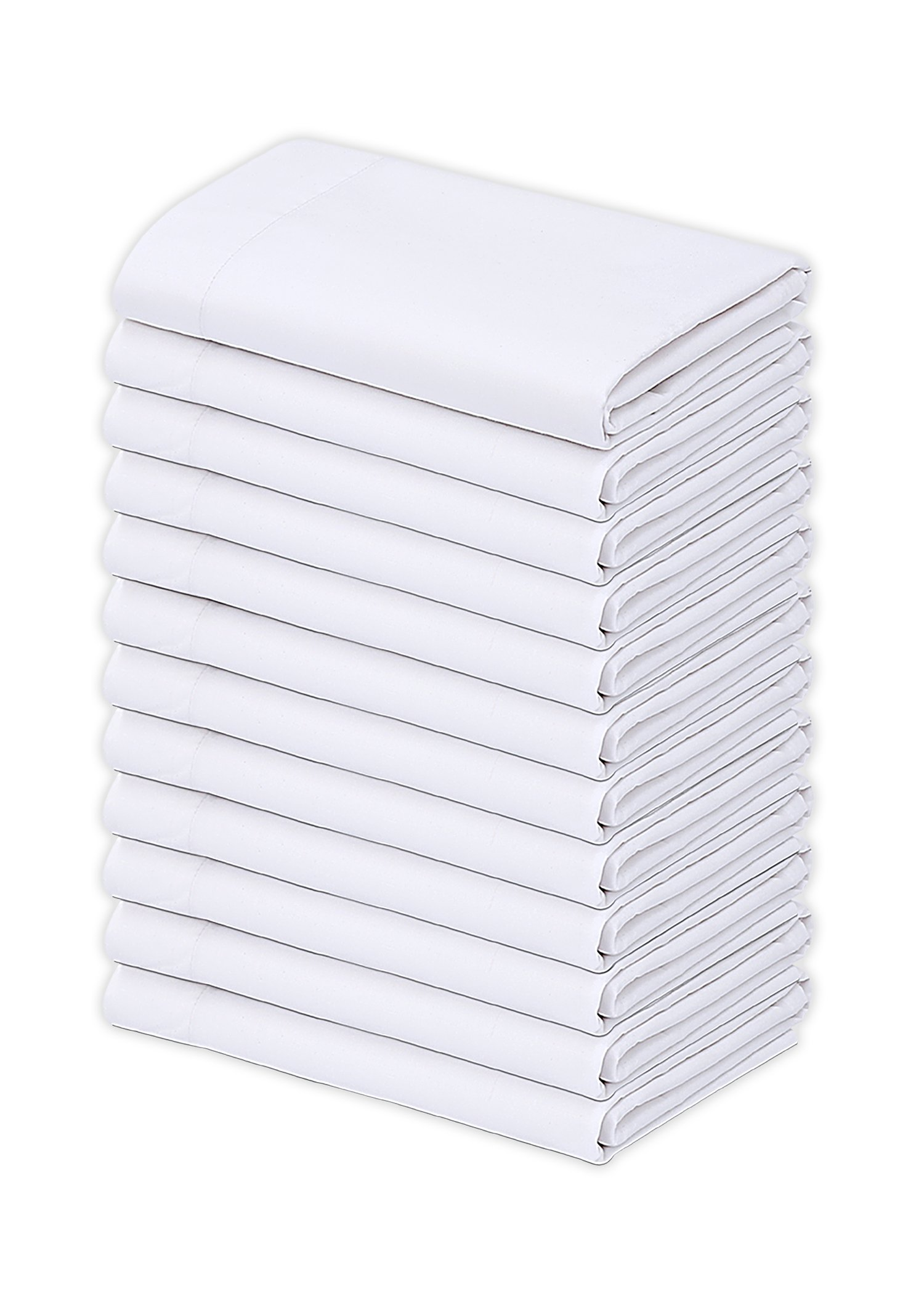 Gold Textiles Bulk Pack of 12 Polycotton king size Pillowcases, White T200-21''x40'' (Fits 20''x36'' pillow) Multipurpose- Ideal for use in Hotels,Hospitals, School Projects and More (12, King)