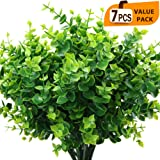 ElaDeco Artificial Boxwood (Pack of 7),Artificial Farmhouse Greenery Boxwood Stems Fake Plants and Greenery Springs for…