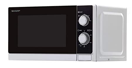 Sharp R-200(IN) W Microondas 20L, Control Mecánico, 800W, Silver, 800 W, 20 litros, Blanco