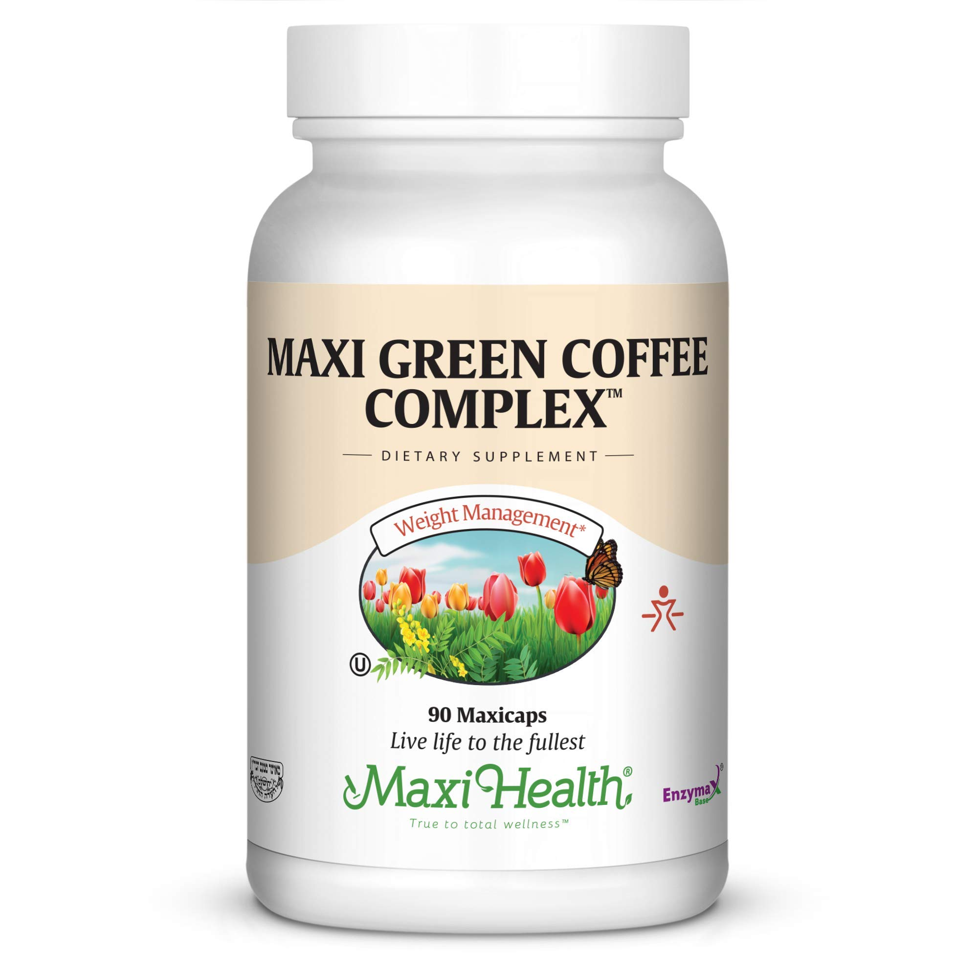 Maxi Health Kosher Green Coffee Bean Complex with Green Tea Extract Diet Support Capsules, 90 Count by Maxi Health