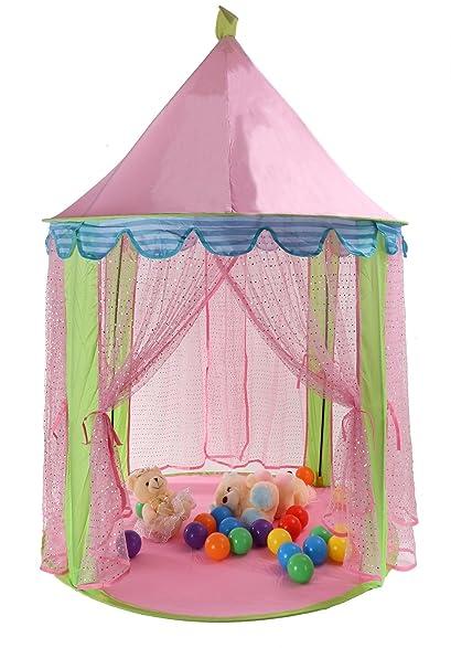TINEO 55u0026quot; X 41u0026quot; Sequins Kids Play Tent Princess Castle Children Playhouse  With Storage