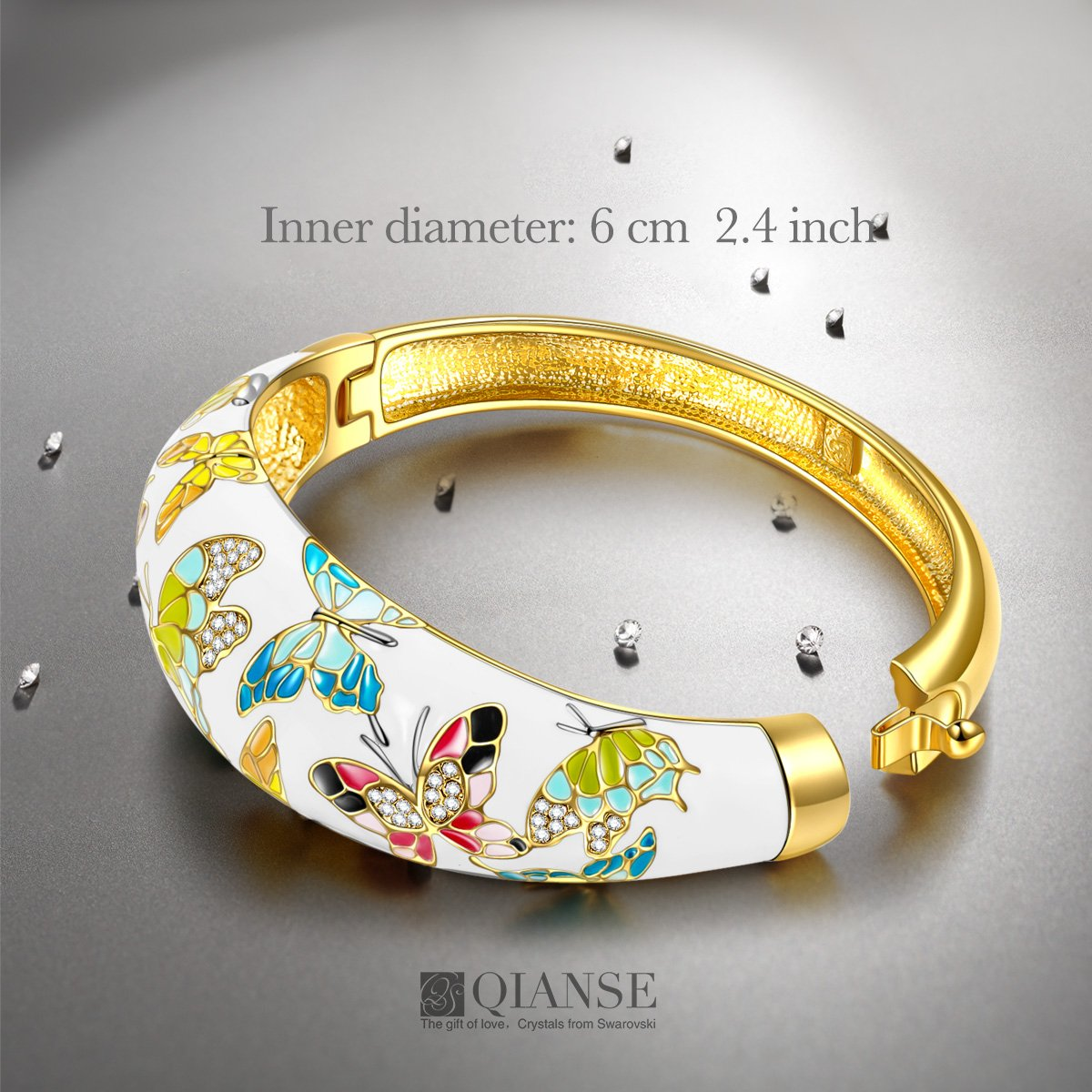 QIANSE Spring of Versailles Yellow Gold Bangle Bracelets Enamel Butterfly Bangles for Women Jewelry for Women Birthday Gifts for Mom Girlfriend Daughter Grandma Mother in Law Present by QIANSE (Image #2)