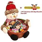 Navidad Candy de almacenamiento, keepwin Xmas decoración, Santa/muñeco de nieve/de alce cesta de regalo, bambú, muñeco de nieve, 18*18CM