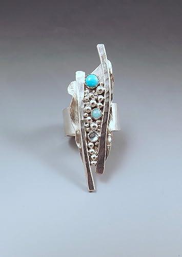 Amazon Com Silver Metal Art Ring Turquoise Amazonite Blue Topaz