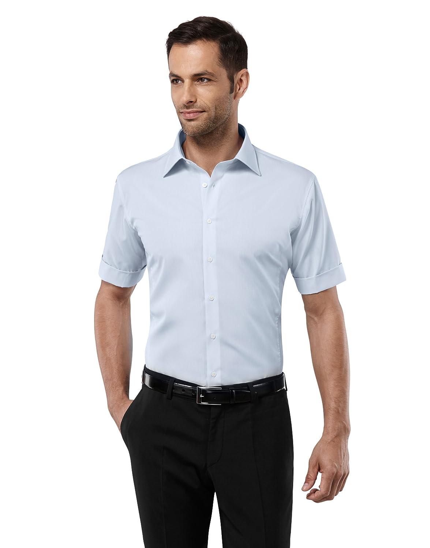 243c5aca39a4 Vincenzo Boretti Men's Shirt Slim-fit Fitted Kent Collar Classic Design  Plain Solid Colour 100% Cotton Non-Iron Short Sleeve Shirts for Men Formal  Office ...