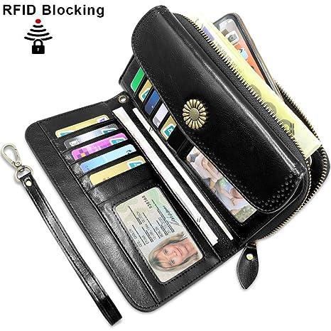 Carteras Mujer Grandes Bloqueo RFID Monederos Piel Mujer con12 Ranuras para Tarjetas y Bolsillo para Monedas