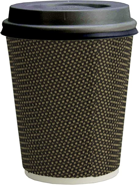 Gold Foil 12 Oz Insulated Disposable Coffee Cups Black Color