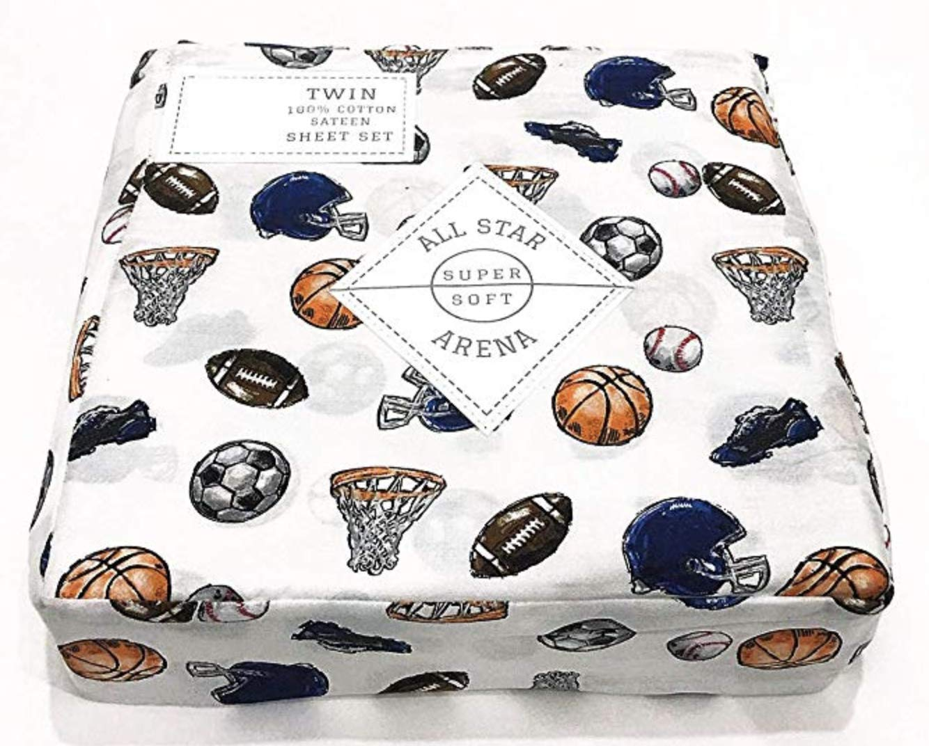 All Star Arena Boys Sports Themed Sheet Set Cotton Basketball, Soccer, Football, Baseball (Full) by All Star Arena