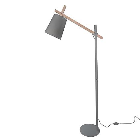 Lámpara de pie en metal y madera con brazo articulado ...