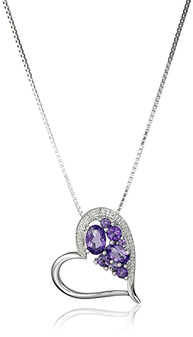 """Sterling Silver Purple Heart Amethyst CZ Pendant Necklace 18/"""" Chain Christmas"""