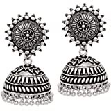 V L IMPEX 22GMS Sun Flower Stud With Silver Plated Oxidized Jhumka Jhumki Earrings