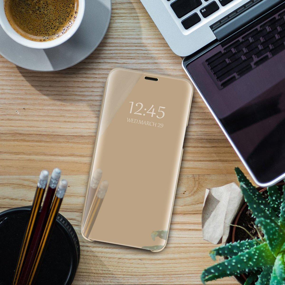 Beryerbi Funda Compatible para Galaxy S8 Plus,Carcasa Galaxy S8 Espejo Mirror Flip PC Hard Case Ultra Delgada Anti-Scratch Protector Cover Soporte Plegable Caso Duro para S8//S8 Plus