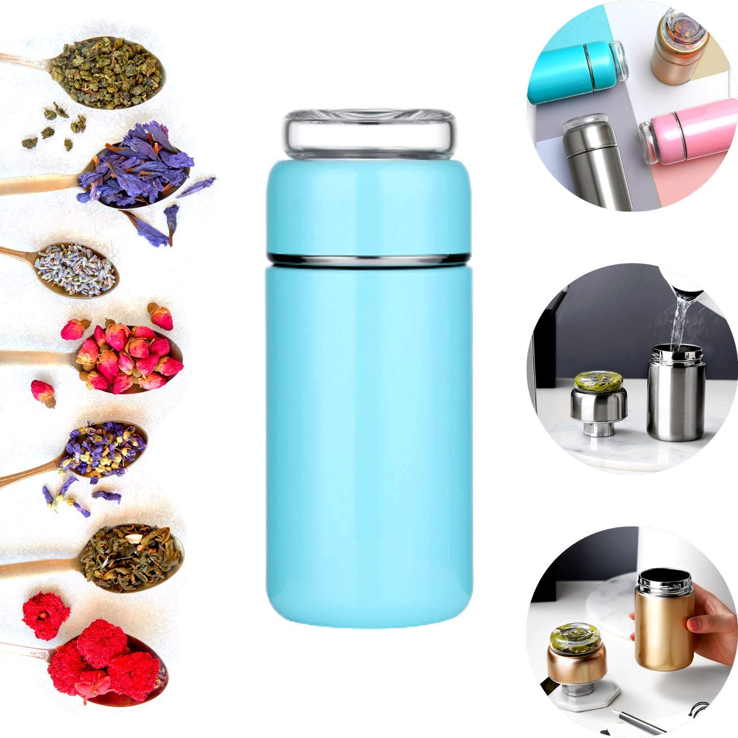 Glass Tea Thermos Cup Mug Stainless Steel  Vacuum Infuser Bottle Flasks Water