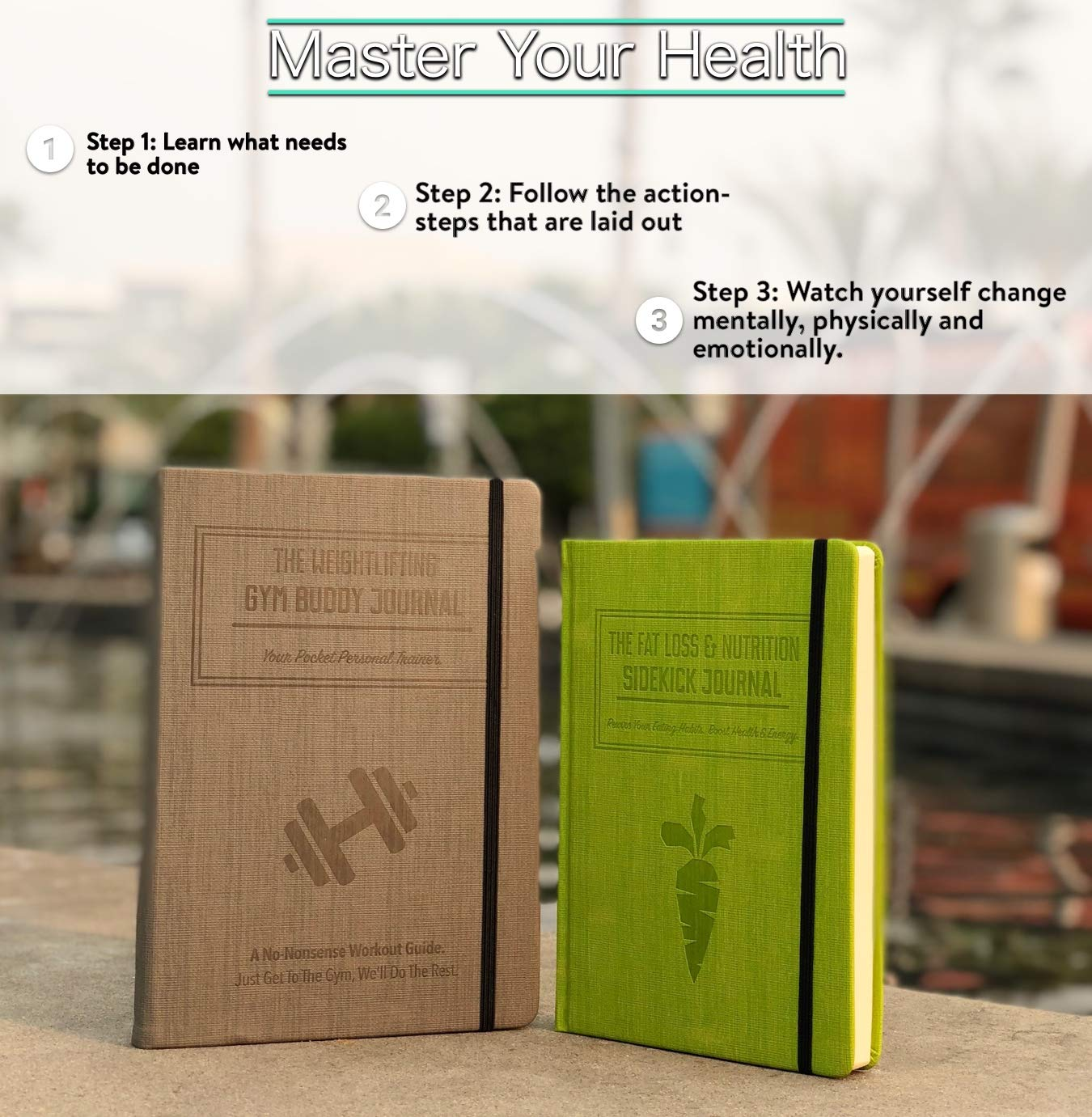 Habit Nest Bundle - 1 Gray Weightlifting Gym Buddy Journal,1x Red Morning Sidekick Journal, 1x Green Fat Loss & Nutrition Sidekick Journal, and 1x Blue Meditation Sidekick Journal by Habit Nest (Image #2)