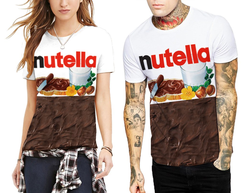 2018 Summer Funny Nutella Printed Adults Undershirts S