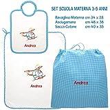 Coccole- Set ASILO SCUOLA MATERNA - 3 pezzi: 1 bavaglino, 1 asciugamano e 1 sacca con nome personalizzato per scuola materna -3-5 anni (Quadretti turchese)