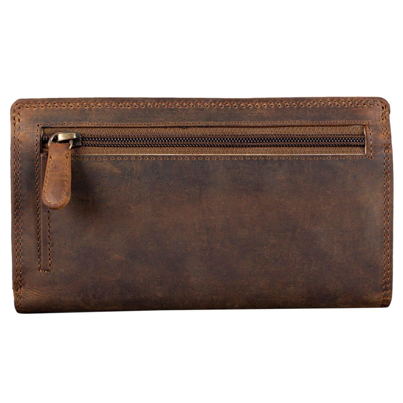 ... de Piel Mujer RFID Bloqueo Vintage Cartera para Señora Monedero con 14 Tarjetas Billetes y Monedas con Caja de Regalo, Color:marrón - Medio: Amazon .es: ...