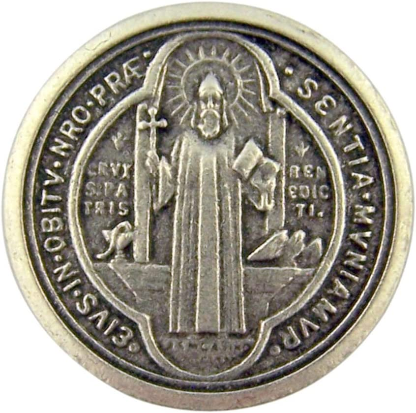 LARGE POCKET PRAYER COIN MEDAL TOKEN IN WALLET SAINT ST BENEDICT