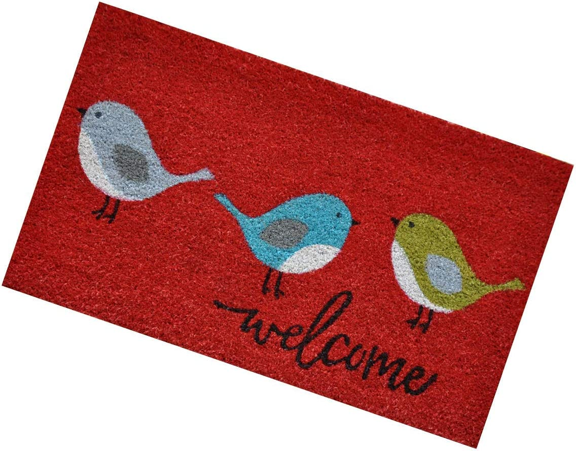 Coir Door Mat with Attractive Design for Outdoor Use – 18 X 30 Doormat with 0.6 Plush Three Birds