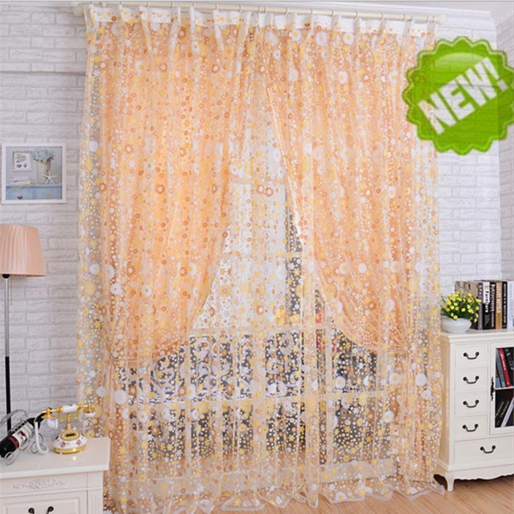 LiPing Small Flowers Elegant Window Treatment Blackout Voile Curtains/Drapes for Bedroom 39.4×78.7in(100x200cm) (A)