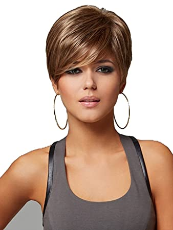 Amazon.com   AmorWig Boycut Short Straight Heat Resistant Brown Synthetic  Hair Wig For Women   Beauty 1b9cc602fc