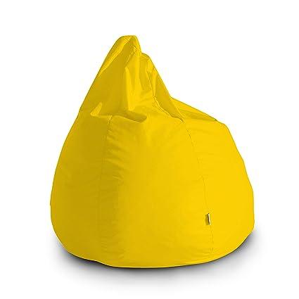 Pouf Poltrona Sacco Grande BAG L Jive 80x80x100cm Made in Italy in tessuto  antistrappo imbottito colore Giallo Limone